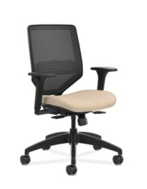 HON Solve Mid-Back Task Chair with Knit Mesh Back Beige Adjustable Arms Front Side View HSLVMM.Y1.A.H.IM.COMP22.BL.SB