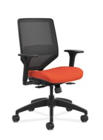 HON Solve Mid-Back Task Chair with Knit Mesh Back Orange Adjustable Arms Front Side View HSLVMM.Y1.A.H.IM.COMP46.BL.SB
