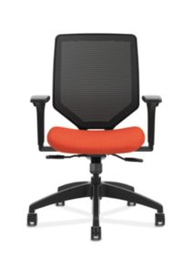HON Solve Mid-Back Task Chair with Knit Mesh Back Orange Adjustable Arms Front View HSLVMM.Y1.A.H.IM.COMP46.NL.SB