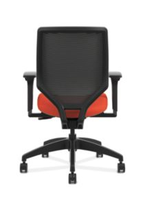 HON Solve Mid-Back Task Chair with Knit Mesh Back Orange Adjustable Arms Back View HSLVMM.Y1.A.H.IM.COMP46.NL.SB