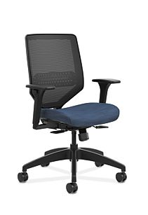 HON Solve Mid-Back Task Chair with Knit Mesh Back Dark Blue Adjustable Arms Front Side View HSLVMM.Y1.A.H.IM.COMP90.BL.SB