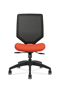 HON Solve Mid-Back Task Chair with Knit Mesh Back Orange Armless Front View HSLVMM.Y1.A.H.IM.COMP46.NL.SB