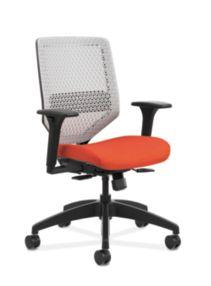 HON Solve Mid-Back Task Chair with ReActiv Back Orange Adjustable Arms Front Side View HSLVMR.Y1.A.H.PT.COMP46.BL.SB