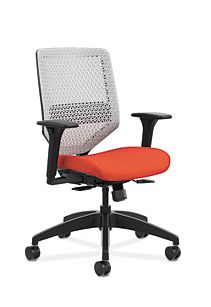 HON Solve Mid-Back Task Chair with ReActiv Back Orange Adjustable Arms Front Side View HSLVMR.Y1.A.H.PT.COMP46.BL.SB