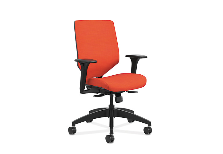 HON Solve Mid-Back Task Chair with Upholstered ReActiv Back Orange Adjustable Arms Front Side View HSLVMU.Y1.A.H.0S.COMP46.COMP46.BL.SB