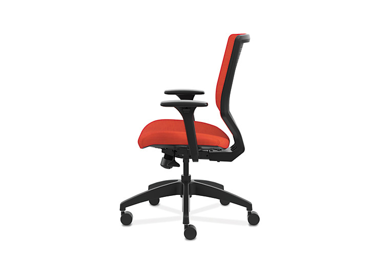 HON Solve Mid-Back Task Chair with Upholstered ReActiv Back Orange Adjustable Arms Side View HSLVMU.Y1.A.H.0S.COMP46.COMP46.BL.SB