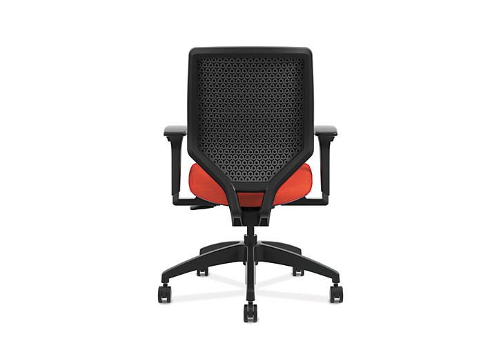 HON Solve Mid-Back Task Chair with Upholstered ReActiv Back Orange Adjustable Arms Back View HSLVMU.Y1.A.H.0S.COMF46.COMF46.NL.SB