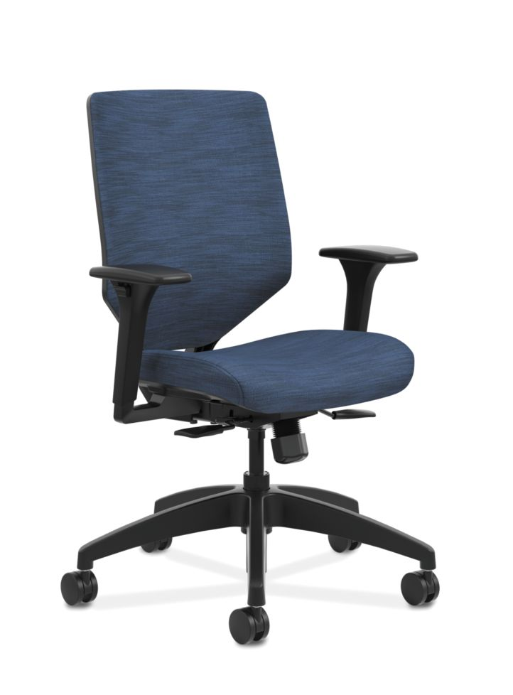 HON Solve Mid-Back Task Chair with Upholstered ReActiv Back Blue Adjustable Arms Front Side View HSLVMU.Y1.A.H.0S.COMP90.COMP90.BL.SB