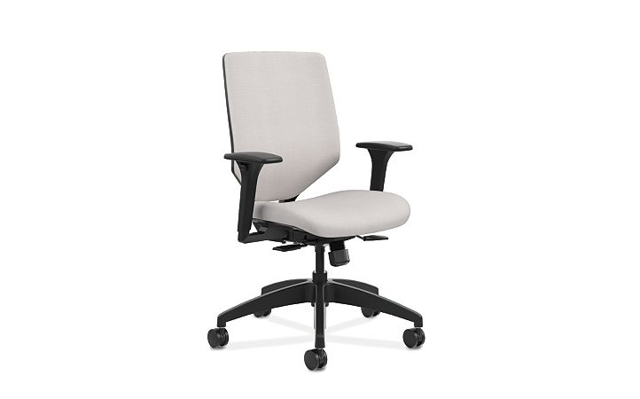 HON Solve Mid-Back Task Chair with Upholstered ReActiv Back White Adjustable Arms Front Side View HSLVMU.Y1.A.H.0S.COMP19.COMP19.BL.SB