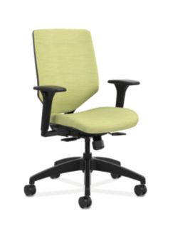 HON Solve Mid-Back Task Chair with Upholstered ReActiv Back Lime Green Adjustable Arms Front Side View HSLVMU.Y1.A.H.0S.COMP82.COMP82.BL.SB