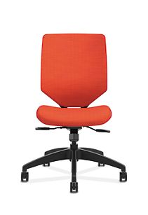 HON Solve Mid-Back Task Chair with Upholstered ReActiv Back Orange Armless Front View HSLVMU.Y1.A.H.0S.COMP46.COMP46.BL.SB