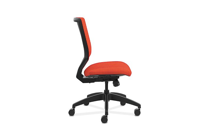 HON Solve Mid-Back Task Chair with Upholstered ReActiv Back Orange Armless Side View HSLVMU.Y1.A.H.0S.COMP46.COMP46.BL.SB