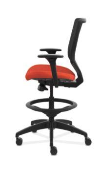 HON Solve Mid-Back Task Stool with Knit Mesh Back Orange Adjustable Arms Side View HSLVSM.Y1.A.H.IM.COMP46.NL.SB