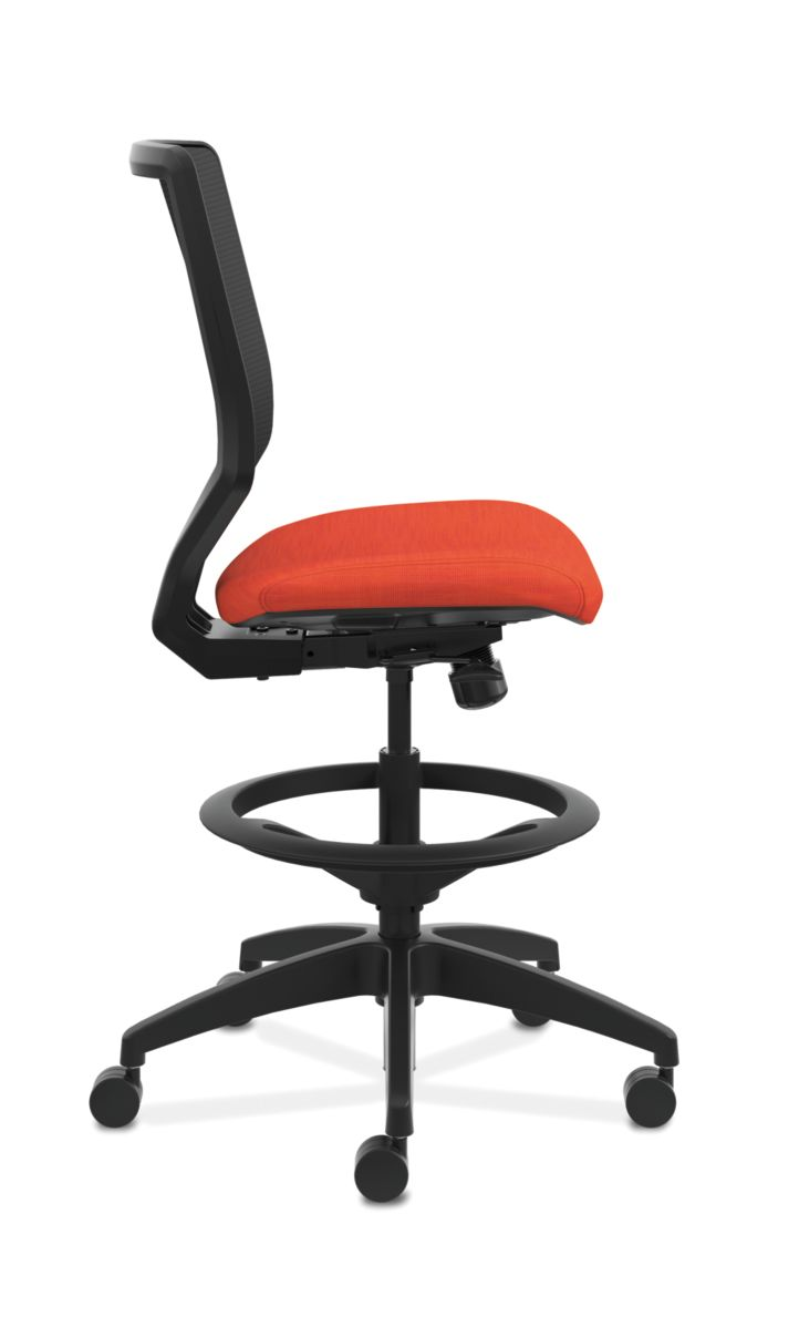 HON Solve Mid-Back Task Stool with Knit Mesh Back Orange Armless Side View HSLVSM.Y1.A.H.IM.COMP46.NL.SB