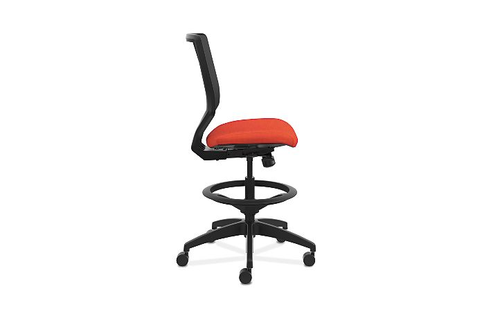 HON Solve Mid-Back Task Stool with Knit Mesh Back Orange Armless Side View HSLVSM.Y1.A.H.IM.COMP46.NL.SB