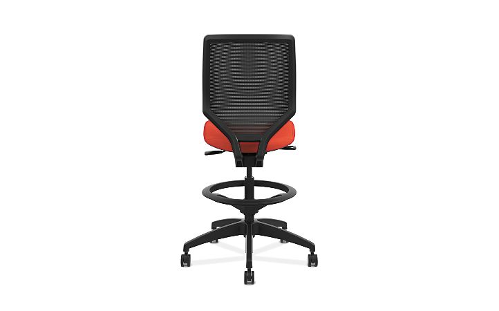 HON Solve Mid-Back Task Stool with Knit Mesh Back Orange Armless Back View HSLVSM.Y1.A.H.IM.COMP46.NL.SB