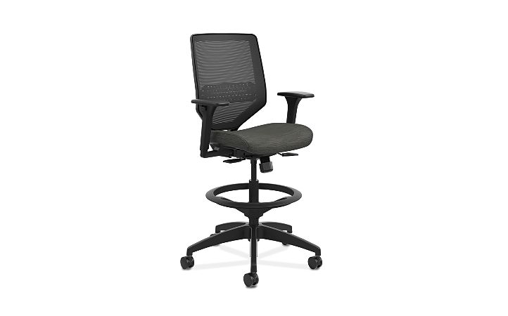 HON Solve Mid-Back Task Stool with Knit Mesh Back Black Adjustable Arms Front Side View HSLVSM.Y1.A.H.IM.COMP10.BL.SB