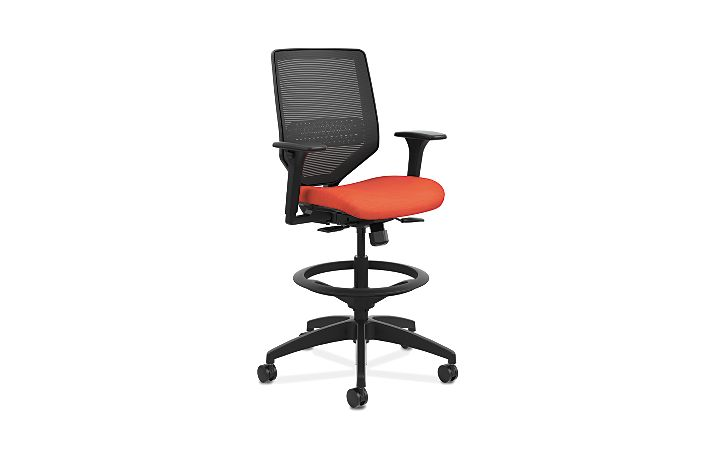 HON Solve Mid-Back Task Stool with Knit Mesh Back Orange Adjustable Arms Front Side View HSLVSM.Y1.A.H.IM.COMP46.BL.SB