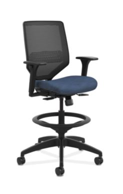 HON Solve Mid-Back Task Stool with Knit Mesh Back Dark Blue Adjustable Arms Front Side View HSLVSM.Y1.A.H.IM.COMP90.BL.SB