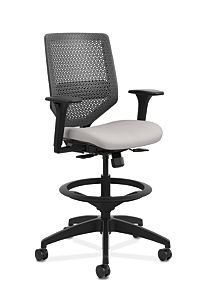 HON Solve Mid-Back Task Stool with ReActiv Back White Adjustable Arms Front Side View HSLVSR.Y1.A.H.0S.COMP19.BL.SB