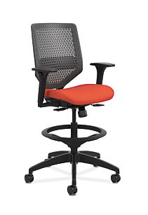 HON Solve Mid-Back Task Stool with ReActiv Back Orange Adjustable Arms Front Side View HSLVSR.Y1.A.H.0S.COMP46.BL.SB