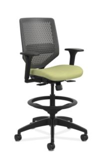 HON Solve Mid-Back Task Stool with ReActiv Back Light Green Adjustable Arms Front Side View HSLVSR.Y1.A.H.0S.COMP82.BL.SB