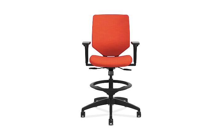HON Solve Mid-Back Task Stool with Upholstered ReActiv Back Orange Adjustable Arms Front View HSLVSU.Y1.A.H.0S.COMP46.COMP46.BL.SB