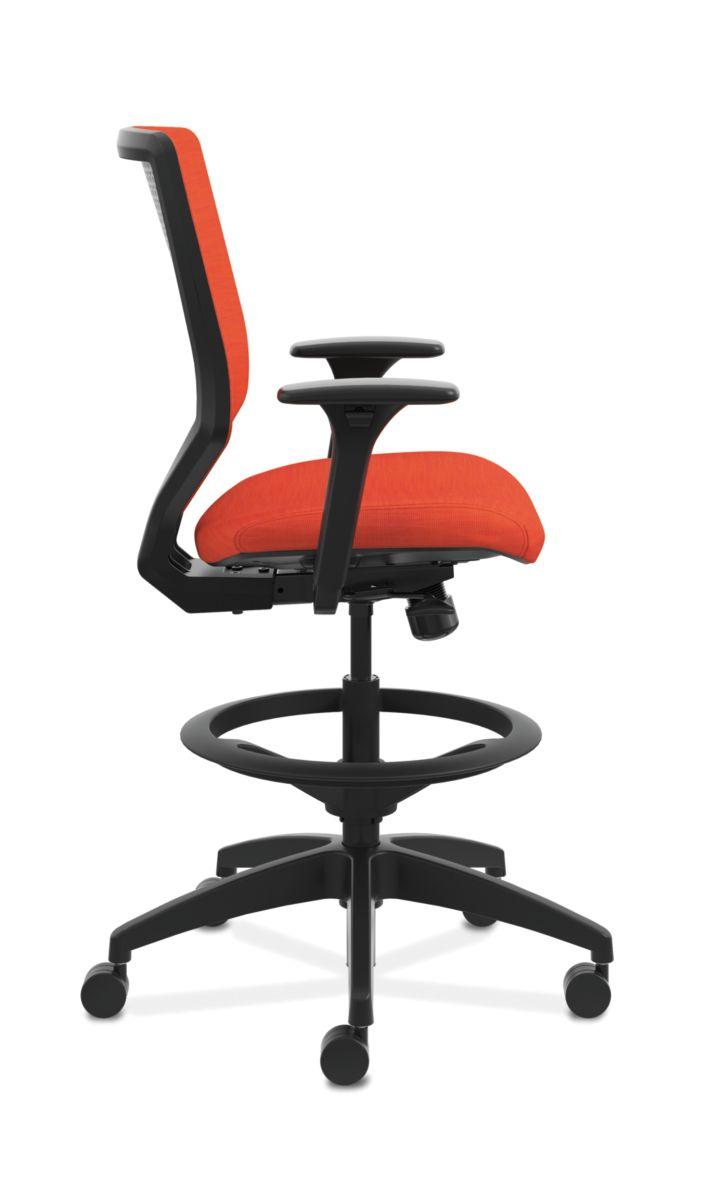 HON Solve Mid-Back Task Stool with Upholstered ReActiv Back Orange Adjustable Arms Side View HSLVSU.Y1.A.H.0S.COMP46.COMP46.BL.SB