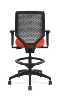 HON Solve Mid-Back Task Stool with Upholstered ReActiv Back Orange Adjustable Arms Back View HSLVSU.Y1.A.H.0S.COMP46.COMP46.NL.SB