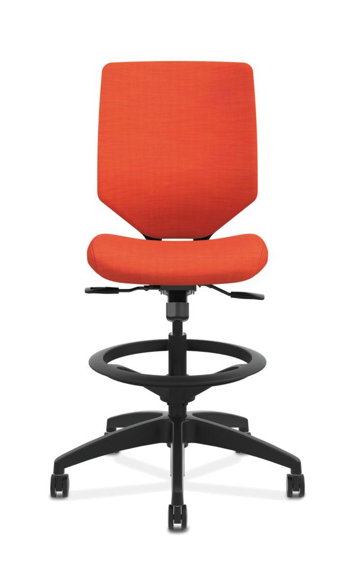 HON Solve Mid-Back Task Stool with Upholstered ReActiv Back Orange Armless Front View HSLVSU.Y1.A.H.0S.COMP46.COMP46.BL.SB