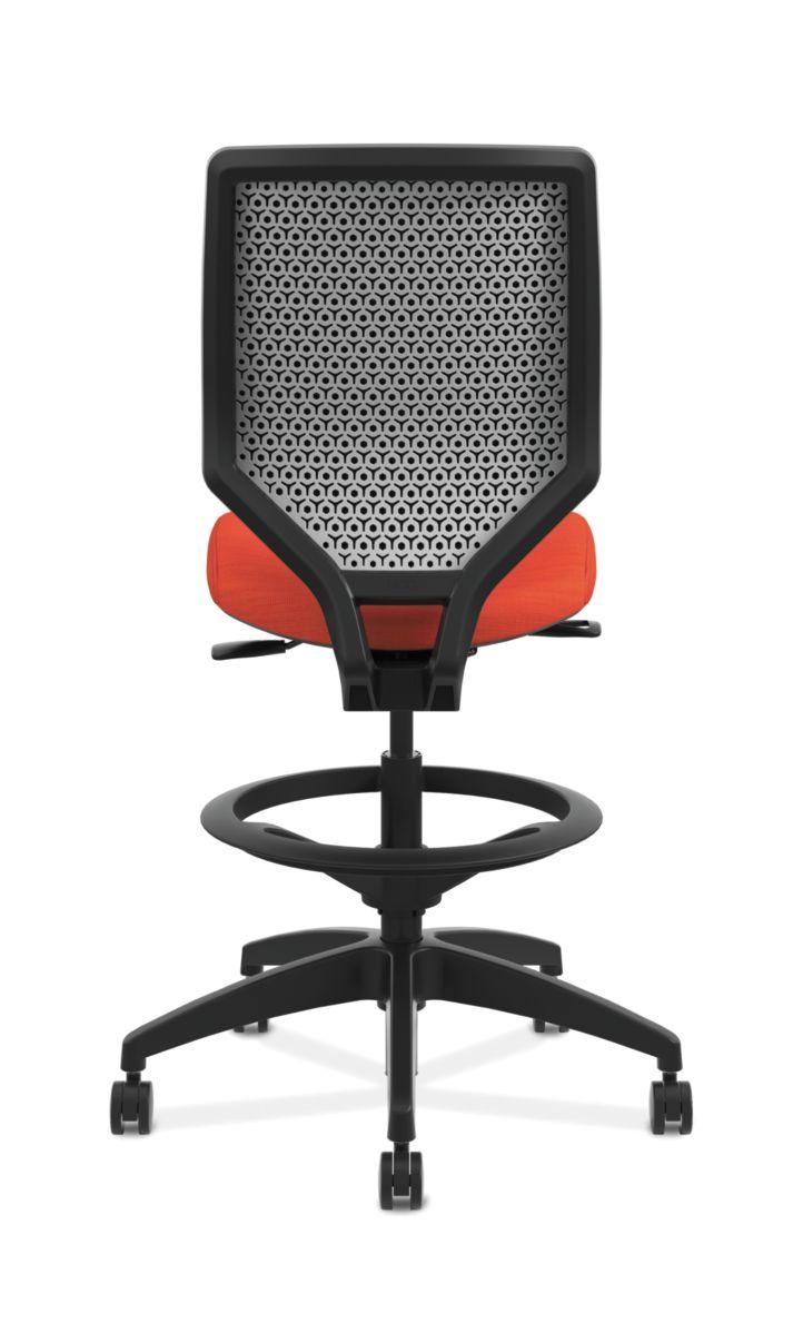 HON Solve Mid-Back Task Stool with Upholstered ReActiv Back Orange Armless Back View HSLVSU.Y1.A.H.0S.COMP46.COMP46.NL.SB
