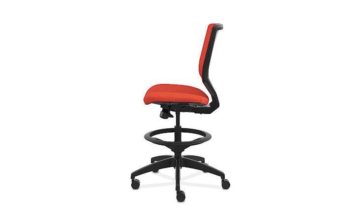 HON Solve Mid-Back Task Stool with Upholstered ReActiv Back Orange Armless Side View HSLVSU.Y1.A.H.0S.COMP46.COMP46.BL.SB