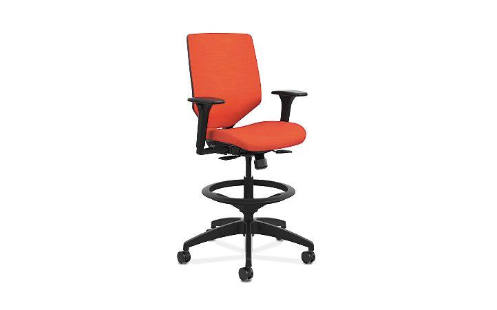 HON Solve Mid-Back Task Stool with Upholstered ReActiv Back Orange Adjustable Arms Front Side View HSLVSU.Y1.A.H.0S.COMP46.COMP46.BL.SB