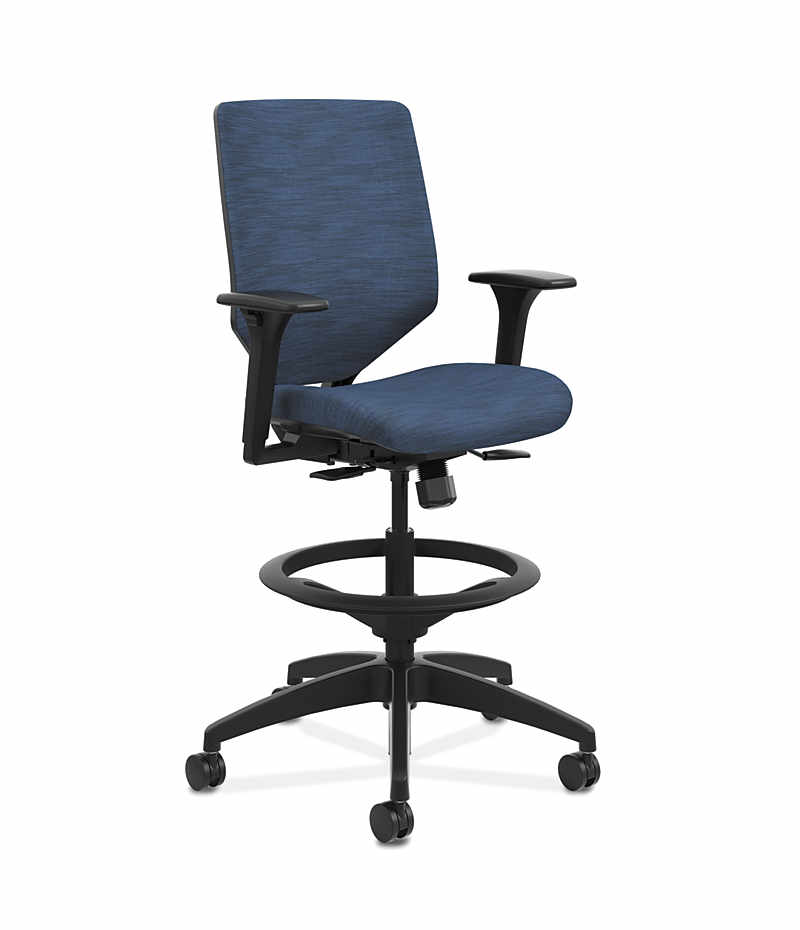 HON Solve Mid Back Task Stool With Upholstered ReActiv Back Dark Blue  Adjustable Arms Front