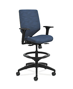 HON Solve Mid-Back Task Stool with Upholstered ReActiv Back Dark Blue Adjustable Arms Front Side View HSLVSU.Y1.A.H.0S.COMP90.COMP90.BL.SB