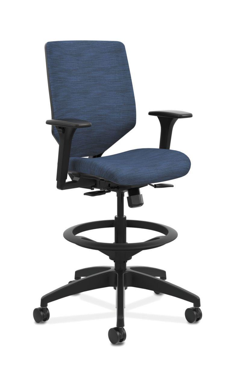 HON Solve Mid-Back Task Stool with Upholstered ReActiv Back Dark Blue Adjustable Arms Front Side View HSLVSU.Y1.A.H.0S.COMP90.COMP90.BL.SB