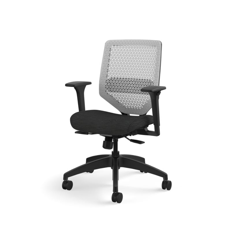 Solve chair with black frame and lumbar support, Titanium ReActiv back and seat upholstery in Compass Ink
