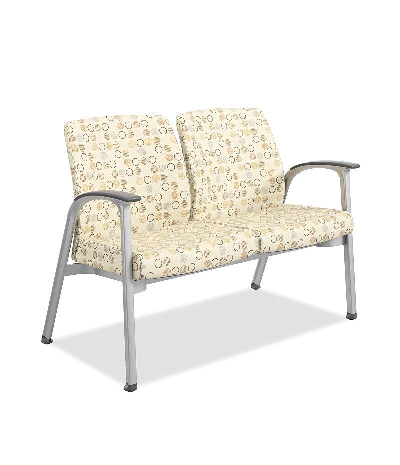 HON Soothe Tandem Guest Chair Amuse Quartz Chrome Frame Front Side View HHCG21.S.SMOMAMU91.P6N
