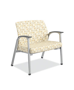 HON Soothe Bariatric Guest Chair Charcoal Urethane Satin Chrome Front Side View HHCG50.S.SMOMAMU91.P6N