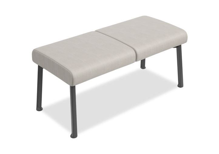 HON Soothe 2-Seat Guest Bench Beeline Fossil Charcoal Frame Front Side View HHCGB21.SMOMBEE65.P7A