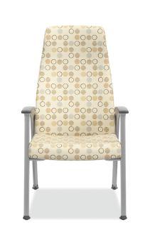 HON Soothe High-Back Patient Chair Amuse Quartz Chrome Frame Front View HHCP1.S.SMOMAMU91.P6N