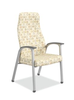 HON Soothe High-Back Patient Chair Amuse Quartz Chrome Frame Front Side View HHCP1.S.SMOMAMU91.P6N