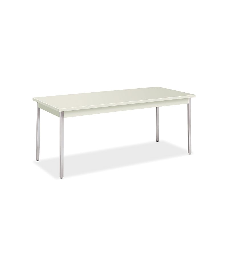HON Utility Tables Metal Utility Table 30D x 72W Loft Chrome Front Side View HUTM3072.LOFT.LOFT.CHR