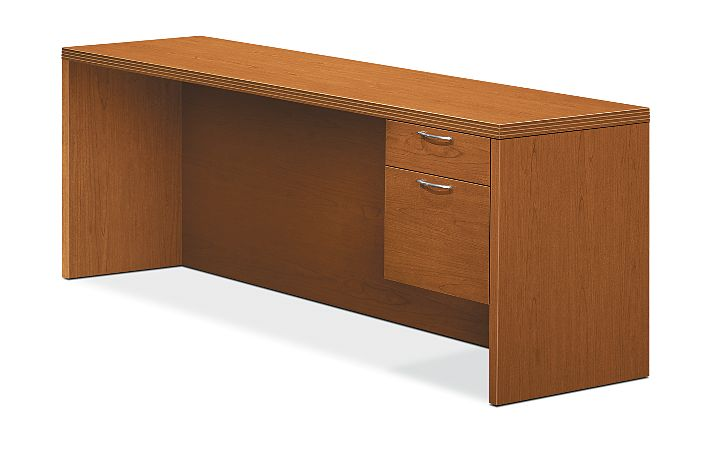 HON Valido Right Pedestal Credenza Bourbon Cherry Front Side View H11545R.A.C.HH