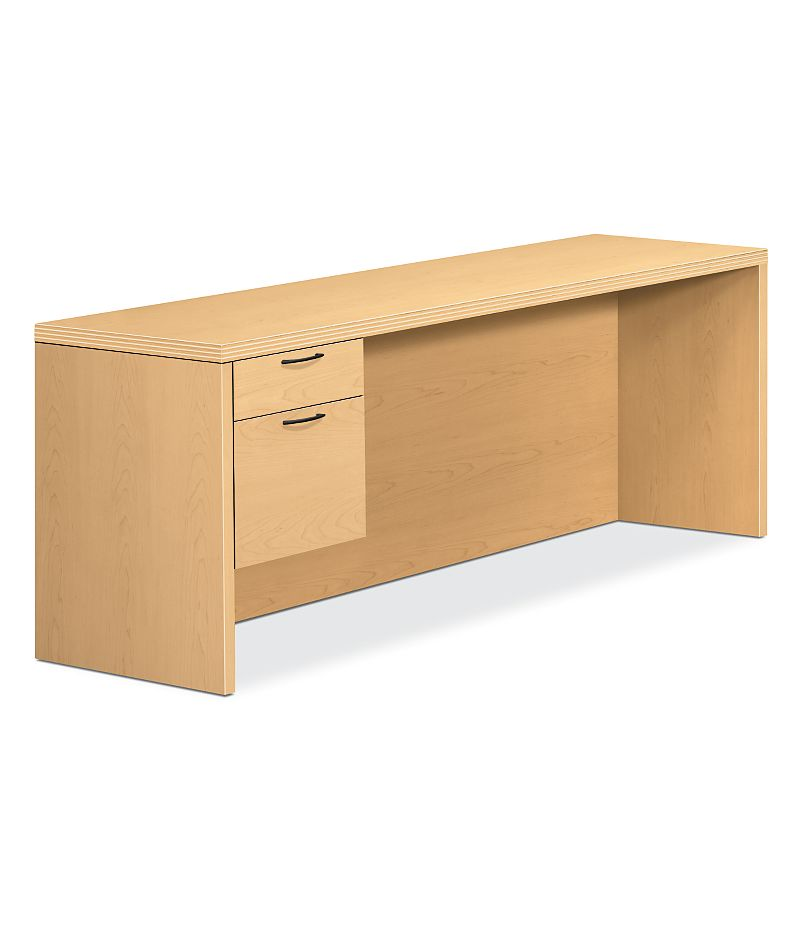 HON Valido Left Pedestal Credenza Natural Maple Front Side View H11546L.A.A.DD