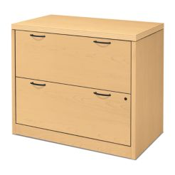 HON Valido 2-Drawer Lateral File Natural Maple Front Side View H11563.A.A.DD