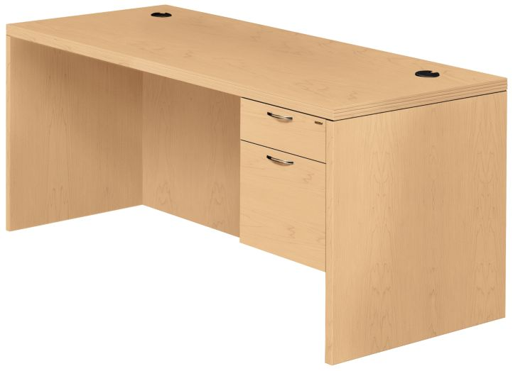 HON Valido Right Pedestal Desk Natural Maple Front Side View H11583R.A.F.DD