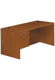 HON Valido Left Pedestal Desk Bourbon Cherry Front Side View H11584L.A.C.HH