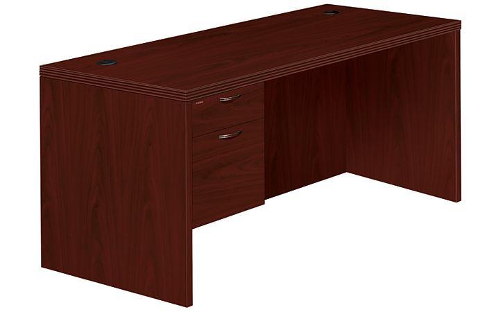 HON Valido Left Pedestal Desk Mahogany Front Side View H11584L.A.F.NN