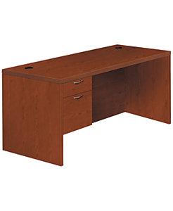 HON Valido Left Pedestal Desk Brown Front Side View H11584L.B.JJ